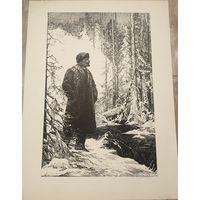 Литография В.М.Ткачук Ленин в лесу.