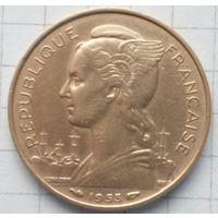 Монета 20 франков 1953г Мадагаскар