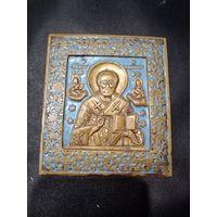 "Икона ""Никола чудотворец"", РИ 19 век. 11.5х10см. латунь эмали"