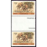 Сцепка из двух марок 1999 год Танзания Жирафы