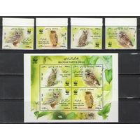 Иран WWF Совы 2011 год чистая полная серия из 4-х марок и блока