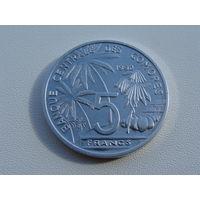 Коморские острова.  5 франков 1992 год KM#15