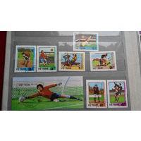 Футбол, спорт, марки, Вьетнам, чемпионат мира 1986, вратари, блок и 7 б/з марок