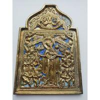 Икона меднолитая Скорбящая Богородица 19 век