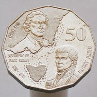 Австралия 50 центов 1998 200 лет путешествию Джорджа Басса и Мэтью Флиндерса