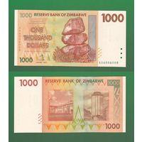 Банкнота Зимбабве 1000 долларов 2007 UNC ПРЕСС