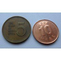 Южная Корея - 2 монеты (из коллекции) - цена за две