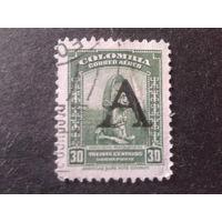 Колумбия 1950 статуя, надпечатка А