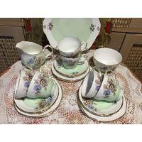 Чайный сервиз на 6 персон Англия Костяной фарфор в салатовым цвете