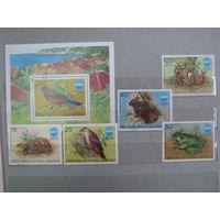 Марки - фауна, Мадагаскар, птицы, дятел, черепаха, заяц, олени, лягушка, блок и 5 марок