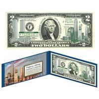 США бона $2 доллара ЦВЕТНЫЕ WORLD TRADE CENTER ПОДАРОЧНАЯ