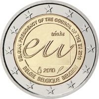 2 евро 2010 Бельгия Председательство Бельгии в Совете Европейского союза UNC из ролла