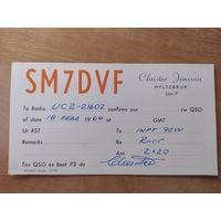 QSL-карточка из Швеции, 1964 год.