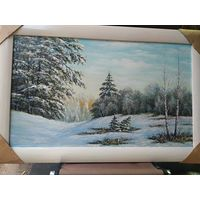 """Картина маслом""""Зима в лесу"""""""