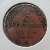 """Пруссия 3 пфеннига 1863 """"А"""""""