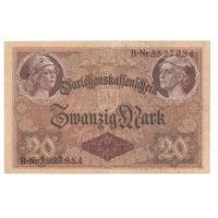 Германия 20 марок 1914 года. 7-значный номер. Нечастая!