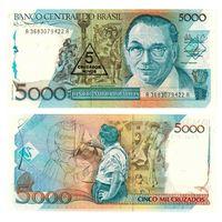Бразилия 5 новых крузадо на 5000 образца 1989 года UNC p217b
