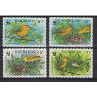 Барбадос WWF Птицы 1991 год чистая полная серия из 4-х марок