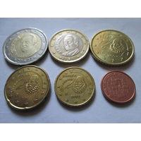 Набор евро монет Испания 2002 г. (1, 10, 20, 50 евроцентов, 1, 2 евро)