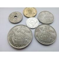 Испания 10, 50 сентимо, 1, 5, 25, 50 песет набор (Франко) из 6 монет