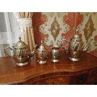 Антикварный кофейно-чайный сервиз. Модерн стиль. Начало прошлого века.Германия. Легирунг,серебрение.
