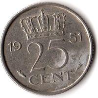 Нидерланды 25 центов 1951