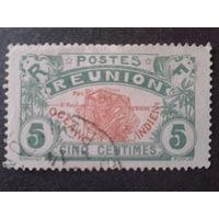 Реюньон, колония Франции 1907 карта острова