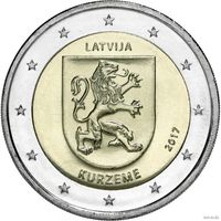 2 евро 2017 Латвия Курземе UNC из ролла