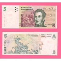 Банкнота Аргентина 5 песо не датирована (2003-14) I серия UNC