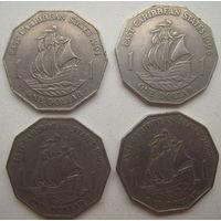 Восточные Карибы (Карибские острова) 1 доллар 1991, 1996, 1998, 2000 гг. Цена за 1 шт. (gb)