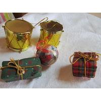 Интересные новогодние игрушки барабаны и коробочки