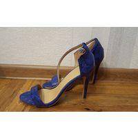 Синие босоножки на каблуке Asix