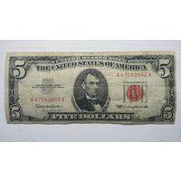 США 5 $ красная печать 1963