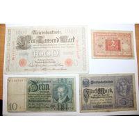 Банкноты Германии, 4 штуки, разные года.