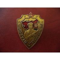 Знак СТАРШИЙ ПОГРАННАРЯДА ( не частый, поздний CCCР, изготовлен в Душанбе, Таджикистан,  КСАПО)