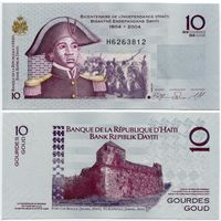 Гаити. 10 гурдов (образца 2004 года, выпуск 2010, P272d, UNC)