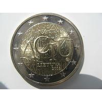 Литва 2 евро 2015 г. Литовский язык. (юбилейная) UNC!