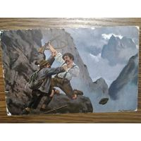 Почтовая карточка. Рейхенбахский водопад. Ш. Холмс и профессор Мориарти. До 1917г.