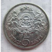 1931 г. 5 лат. Серебро. #4