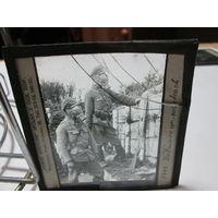 Советско-польская война.фото негатив фото пластина.солдаты в противогазах.Варшава.Оригинал. 20-е г