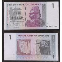 "Распродажа коллекции. Зимбабве. 1 доллар 2007 года (P-65 - 2007-2008 ""Chiremba Rocks"" Issue)"