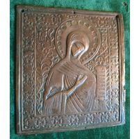 Икона Богородица 19 в., Редкая, образ, бронза, латунь 14 * 13 см.