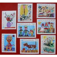 Польша. Детские рисунки ( 8 марок ) 1971 года.