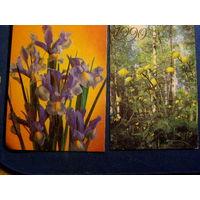 Календарики Цветы 1990