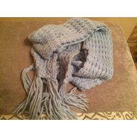 Теплый шарф крупной вязки 270 на 15 см. Голубого цвета. Симпатичный теплый шарф.