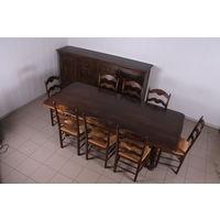Обеденная группа.Большой стол,8 стульев,комод.Массив.Дуб.Art-0087.