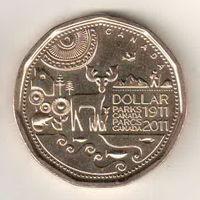Канада 1 доллар 2011 100 лет организации Парки Канады