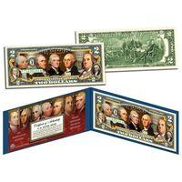 2 доллара ОТЦЫ-ОСНОВАТЕЛИ США (цветные в футляре с цветным сертификатом) UNC