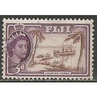Фиджи. Королева Елизавета II. Рыбаки. 1954г. Mi#129.