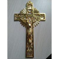"""Крест католический """"мой Иисус"""" милосердие, латунь, вес 200грамм"""